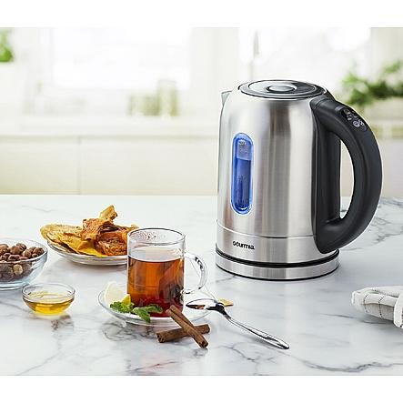 Gourmia Gdk350 Electric Tea Kettle 5 Preset Temperature Controls Led Lights Change Color As